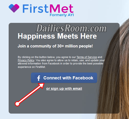 How To Sign Up FirstMet Dating With Facebook Account