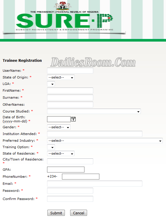 sure-p Application Form
