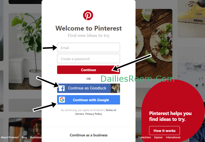 UK Pinterest Login With Facebook & Google - www.Pinterest.com Sign Up