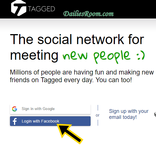 How to Register or Sign Up Tagged With Facebook Account
