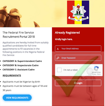 New Federal Fire Service Recruitment Application 2018 on Fedfire.gov.ng