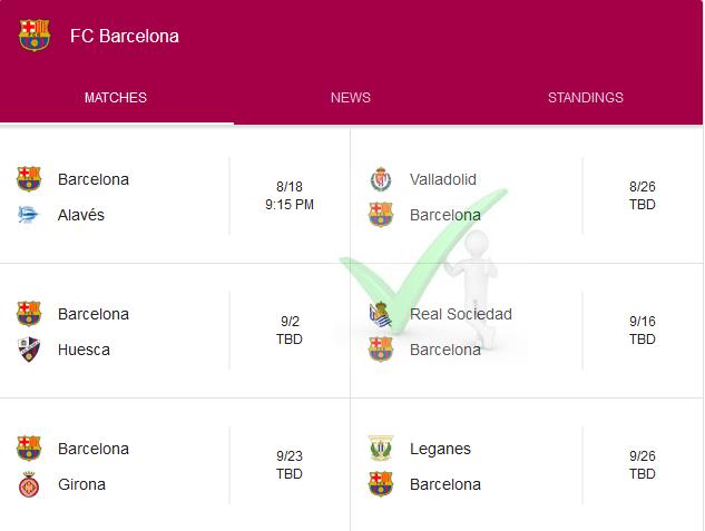 Barcelona 2018-19 Season La Liga Fixtures In Full