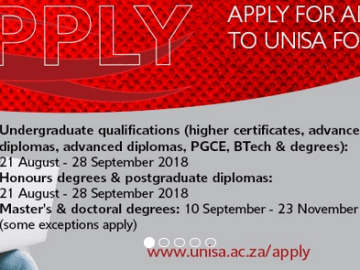 University of South Africa 2019 Application for Admission - How To Apply