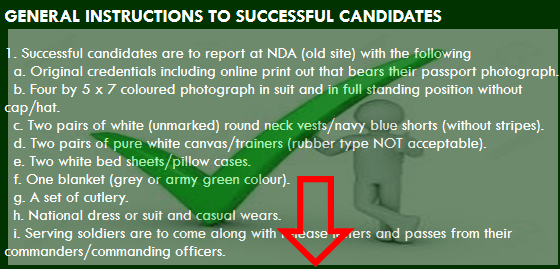 General Instructions for www.nigerianarmyms.ng Successful Candidates