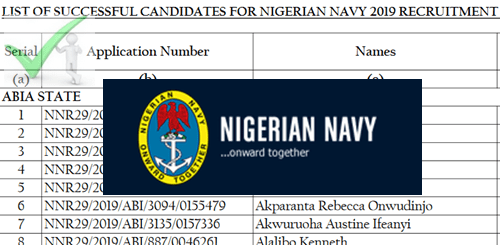 List Of 2019 Nigerian Navy Shortlisted Candidates For Interview