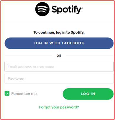 Spotify Web Player Login With Email Address Or Facebook Account
