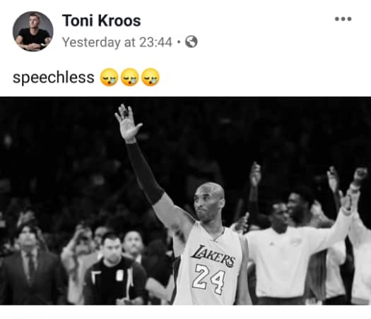 Toni Kroos tribute to Kobe