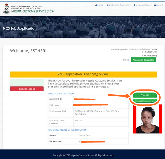 www.vacancy.customs.gov.ng Login Portal