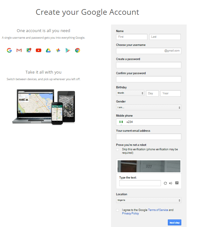 Google Sign up form