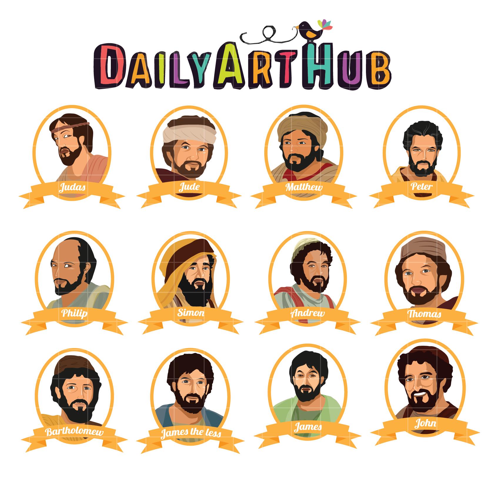 12 Deciples Of Jesus Clip Art Set Daily Art Hub Free