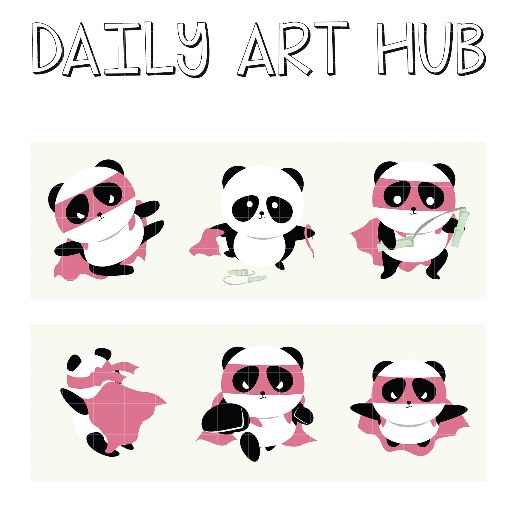Super Panda Clip Art Set Daily Art Hub Free Clip Art
