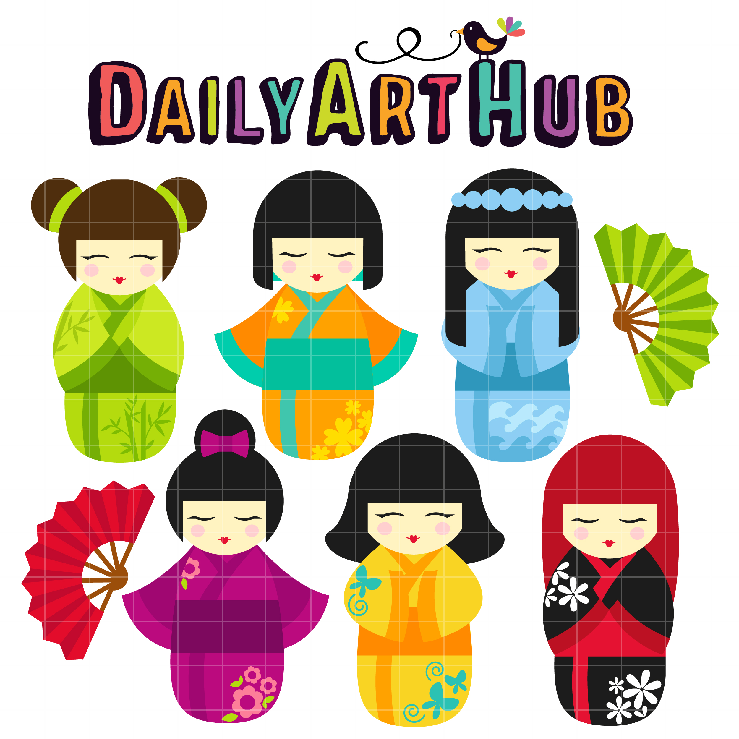 Kokeshi Dolls Clip Art Set Daily Art Hub Free Clip Art