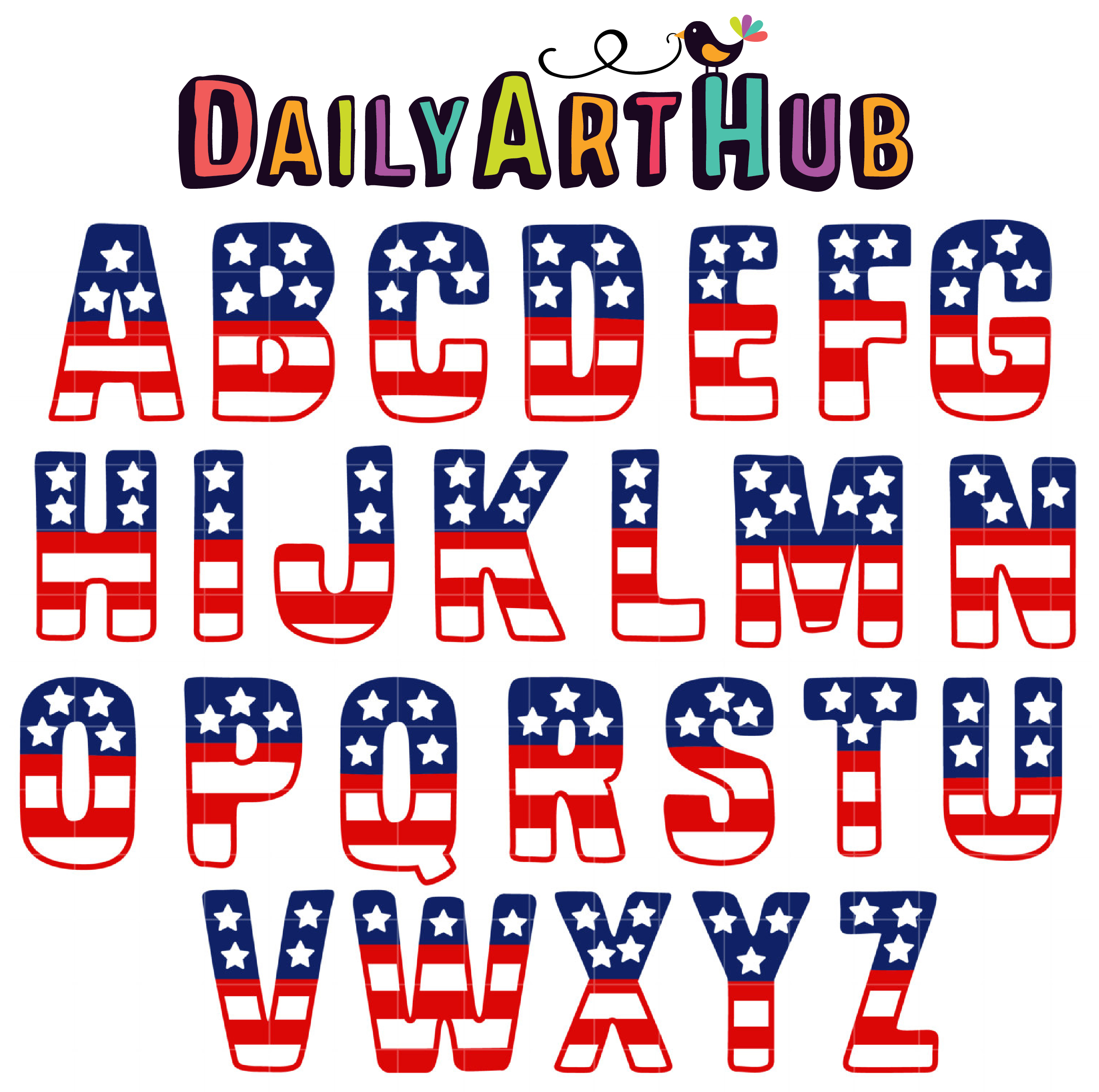 Star Spangled Letters Clip Art Set Daily Art Hub Free