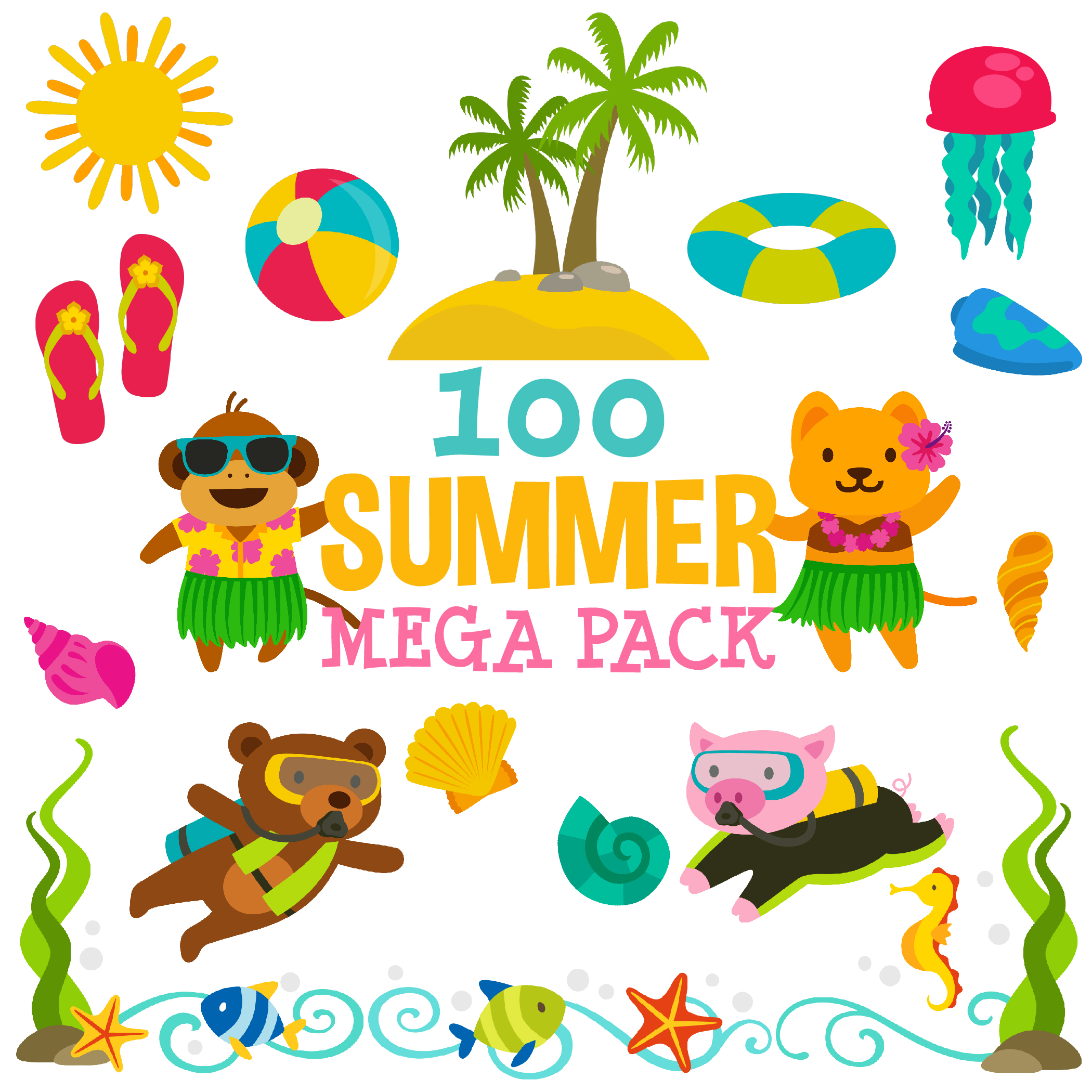 100 Summer Clip Arts Mega Pack For 2 99 Daily Art