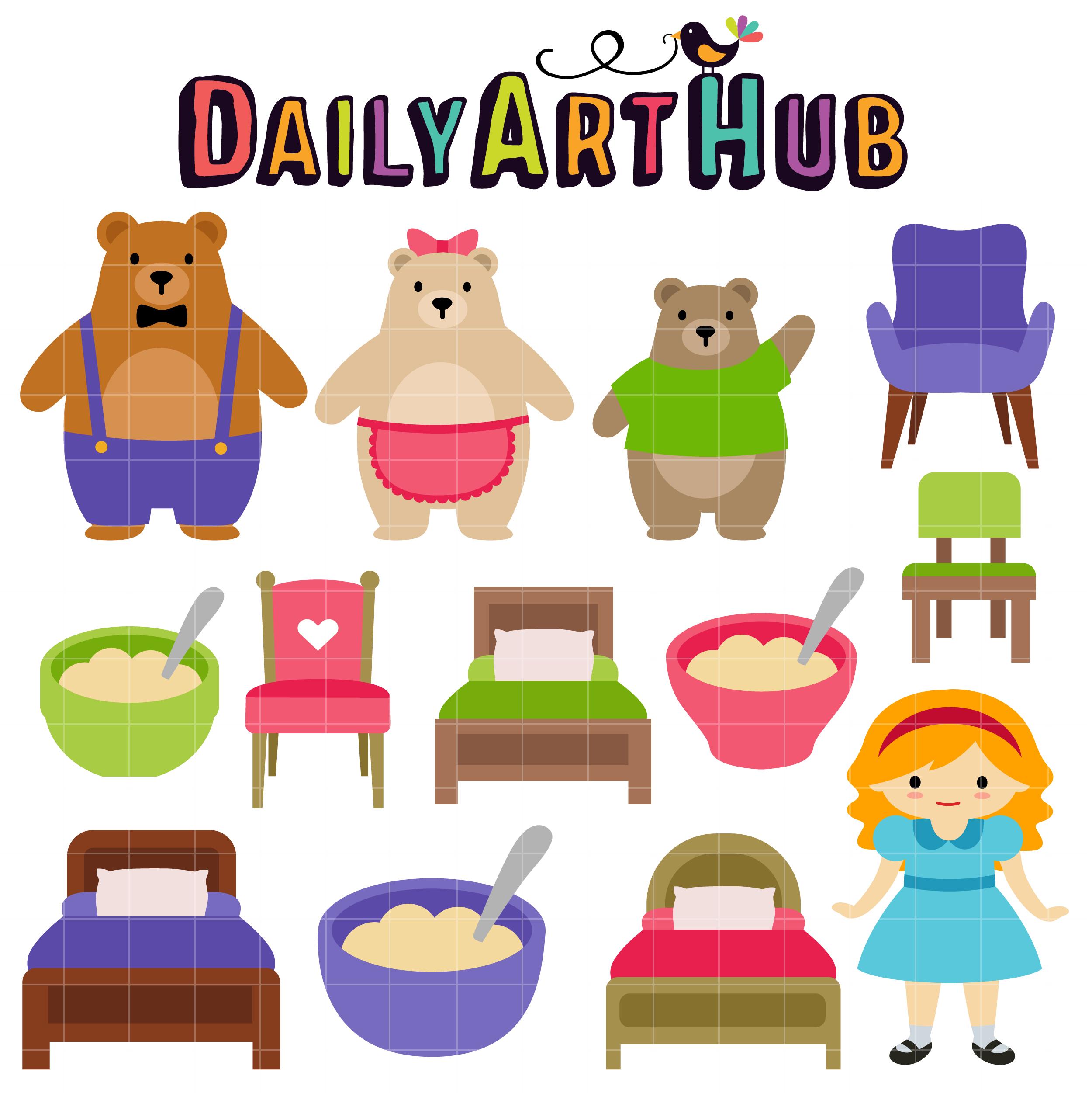 Goldilocks And The Three Bear Clip Art Set Daily Art Hub Free Clip Art Everyday