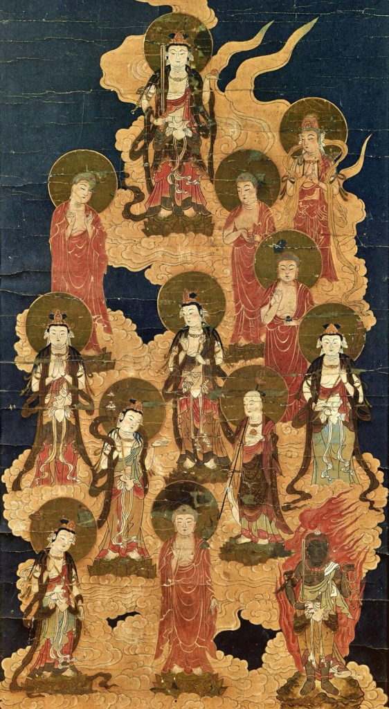 the painting of five buddhas five buddhas and eight great bodhisattvas standing on orange clouds in the dark sky
