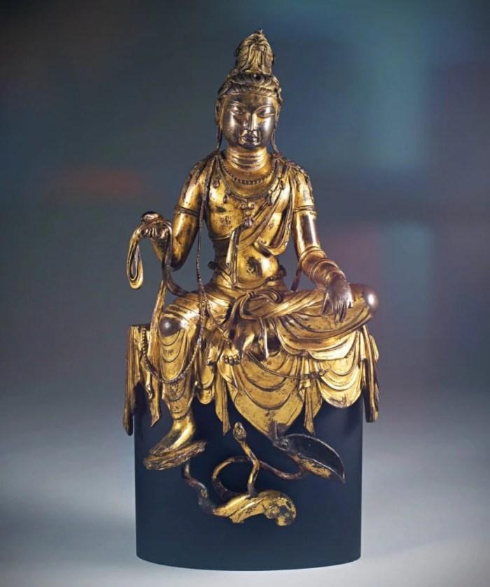 eight great bodhisattvas, the bronze sculpture with gilding of seated bodhisattva Avalokiteshvara
