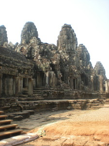 Bayon Temple: There are 54 columns, each with the four faces of Buddha.
