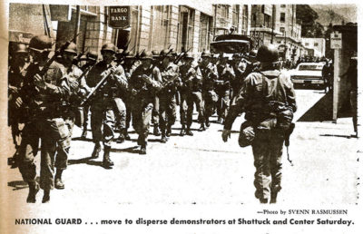 The National Guard moves to disperse demonstrators at Shattuck Avenue and Center Street on Saturday, May 17 1969.