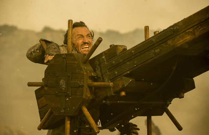 Bronn fires the Scorpion in Game of Thrones