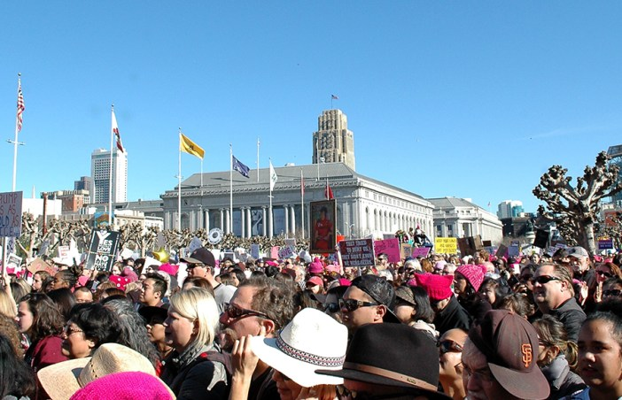 Thousands flood the streets near Civic Center Plaza in San Francisco during the Women's March.