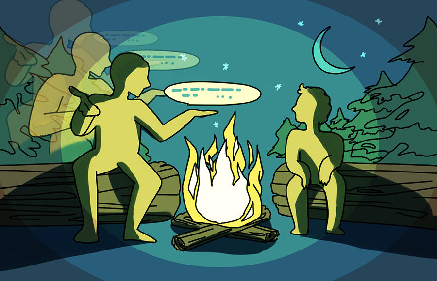 People sharing stories around a campfire