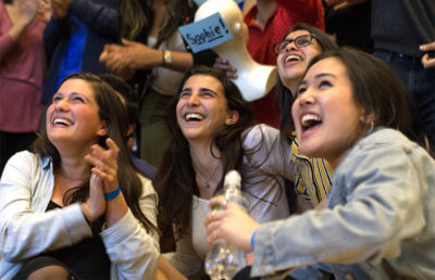 Sophie Bandarkar laughs as results show that she will be elected as next year's Student Advocate. Karen Chow/Staff