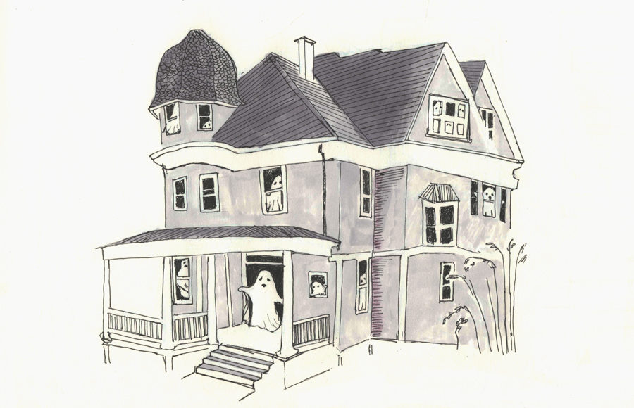 Cartoon ghosts peek out of a spooky Victorian mansion.