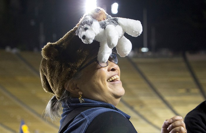 A Cal fan revels in the close win clinched by the Bears over the Washington Huskies. KAREN CHOW/SENIOR STAFF