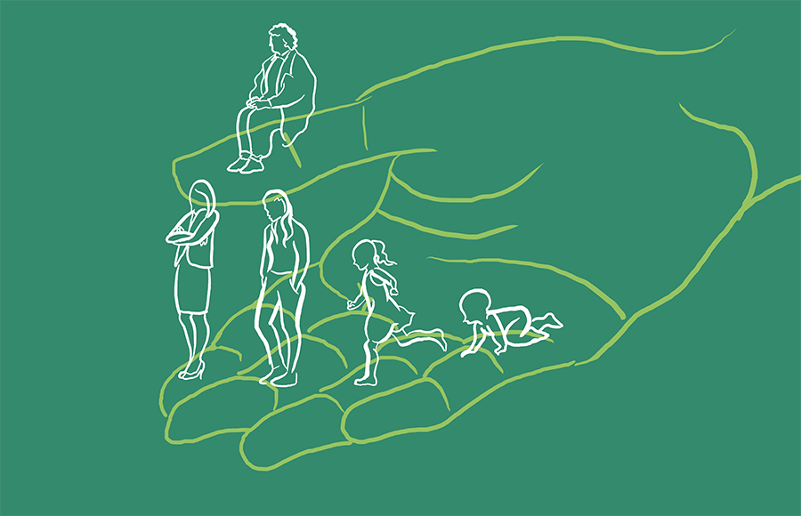 Baby, child, adolescent, adult, and elder woman on a hand