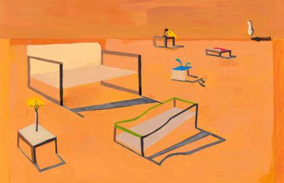 An orange painting with many desks and chairs across the canvas.