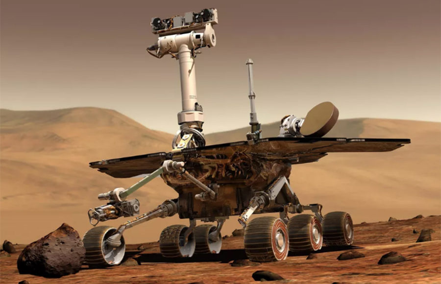 A rover on Mars.