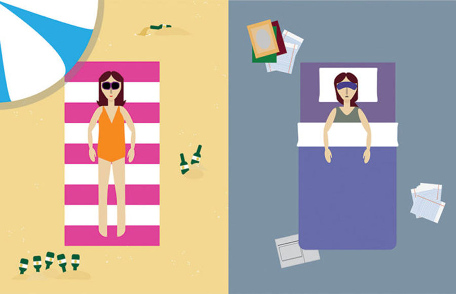Illustration of a woman laying on a striped pink and white beach towel while on the sand, and right next to her is the same woman but laying in a bed in a gray room, surrounded by papers and books.
