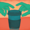 Two hands grabbing a coffee cup with electricity between them
