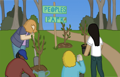 Four people plant trees at People's Park