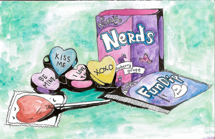 Assortment of candy including Nerds, Fun Dip, and Sweethearts