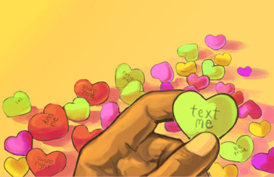 Sweetheart candies with messages on them.