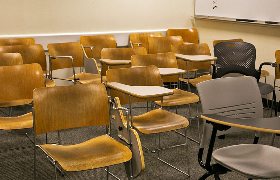 Empty desks in a classroom.