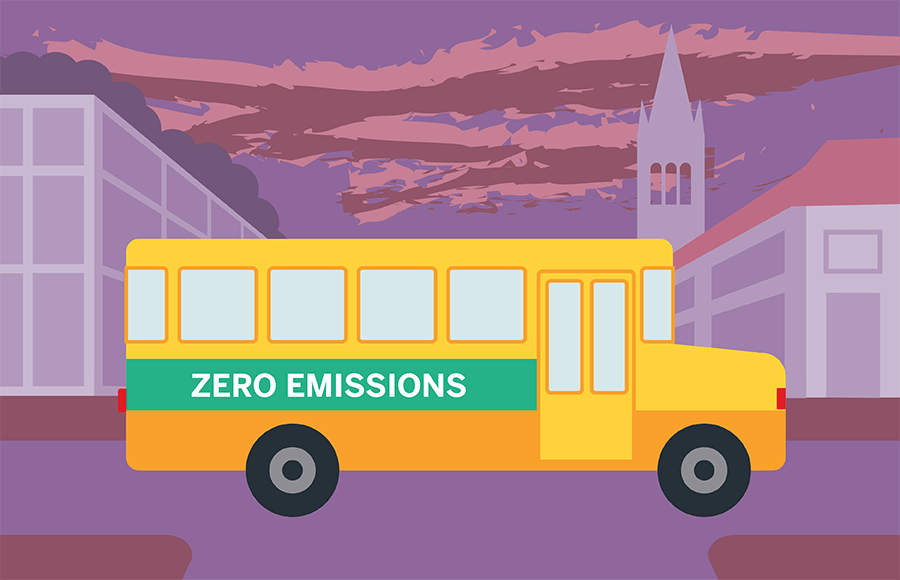 "A school bus with the text ""Zero Emissions"""