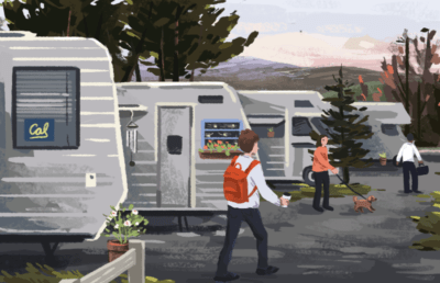 An RV park with people walking their dogs or going to school or work