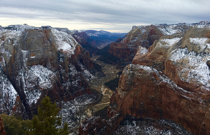Zion National Park is covered in snow.