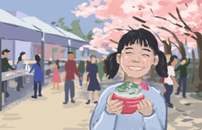 A girl holding a kakigori with cherry blossoms and food stands in the background