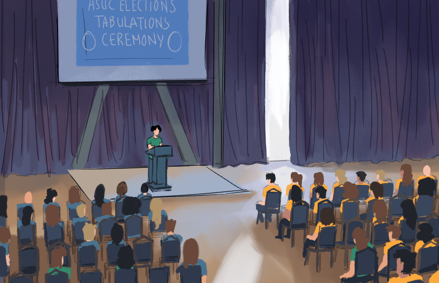 """A person speaking to an audience with a screen that reads """"ASUC Elections Tabulations Ceremony"""""""