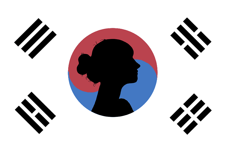 South Korean flag with a silhouette of a woman against it