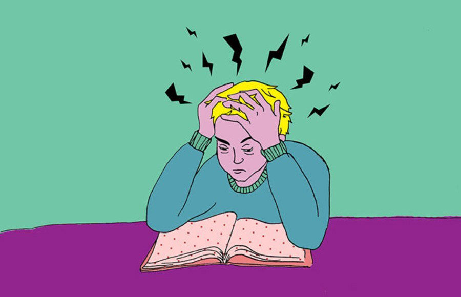 A drawing of a person reading a book and holding their head in frustration.