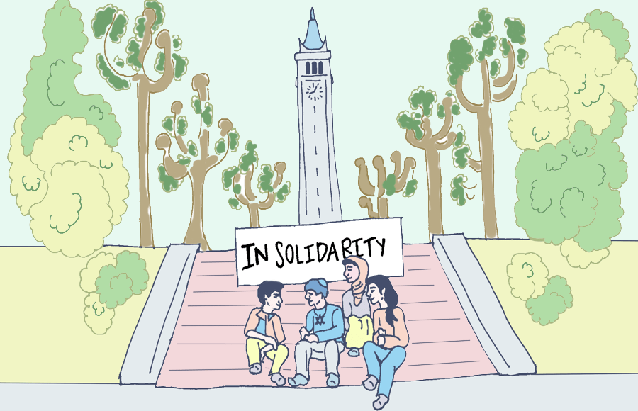"Students sitting on steps near the Campanile with the sign ""In Solidarity"""
