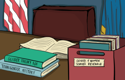 presidential desk with books on gender and women studies
