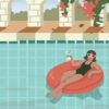 A woman holding a drink floating on a pool