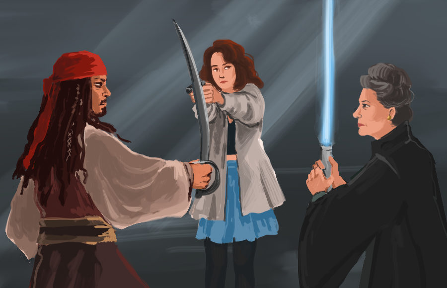 Characters from the movies Heathers, Star Wars, and Pirates of the Caribbean face off