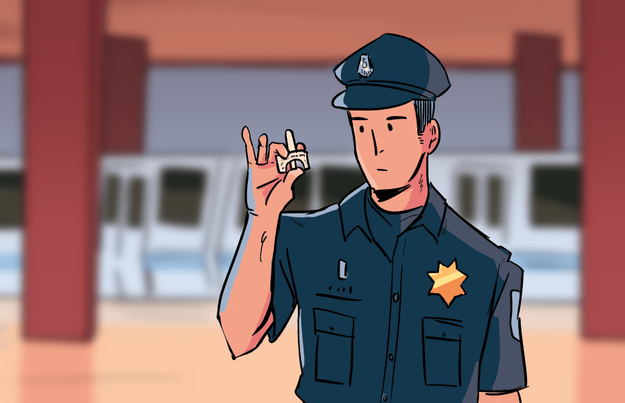 Illustration of a police officer with narcan in front of Bart station